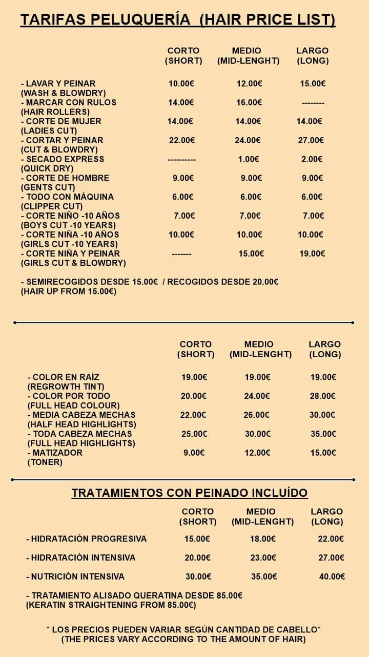 precios peluquería Mojácar playa