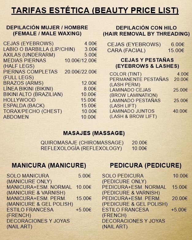 precios y tarifas de estética en Mojácar playa